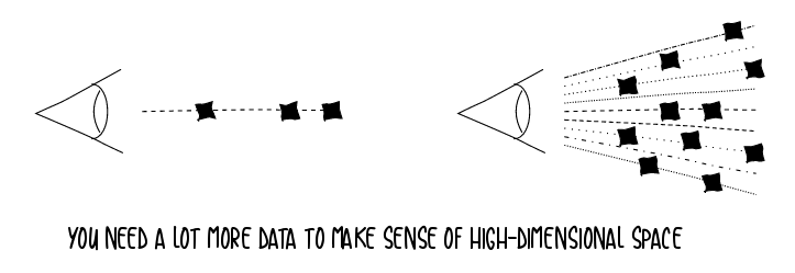 You need a lot more data to make sense of high-dimensional space